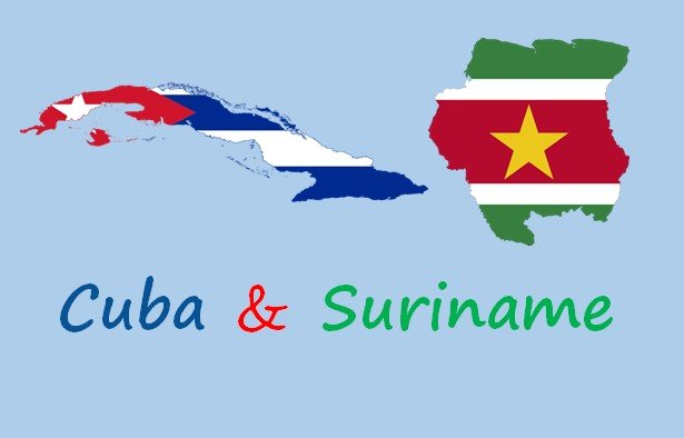 maps of Cuba and Suriname